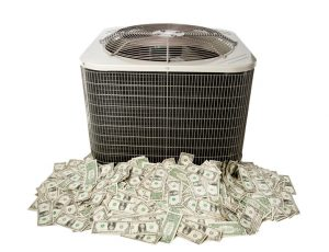 central air conditioner sitting on pile of money, on white background